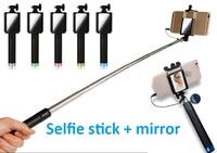 Nieuwste bedrade selfie stok wtih spiegel sluiter stok selfie stick monopod kabel selfie stok 18-80mm niet nodig bluetooth