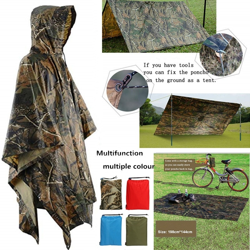 3 In 1 Multifunctional Raincoat Backpack Rain Cover Hiking Cycling Poncho Waterproof Tent Outdoor Camping Shade Tent Picnic Mat