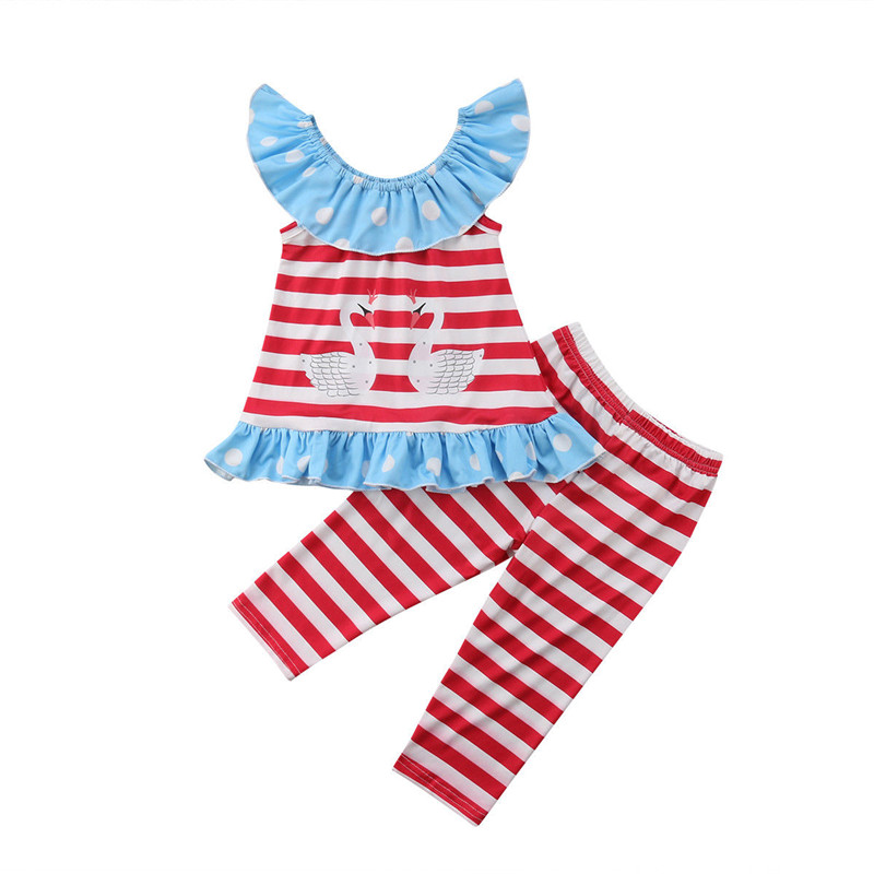 Baby Girl Kids Summer Toddler Outfits Clothes T-shirt Tops Long Pants 2PCS Set 0-5T Striped Ruffles Kids Cloth