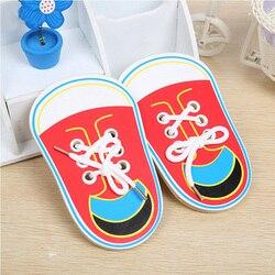 Zabawki montessori drewniane zabawki edukacyjne dla dzieci wczesne nauczanie nauczanie sznurowane buty krawat dziecięcy sznurowadła gry 1 sztuk