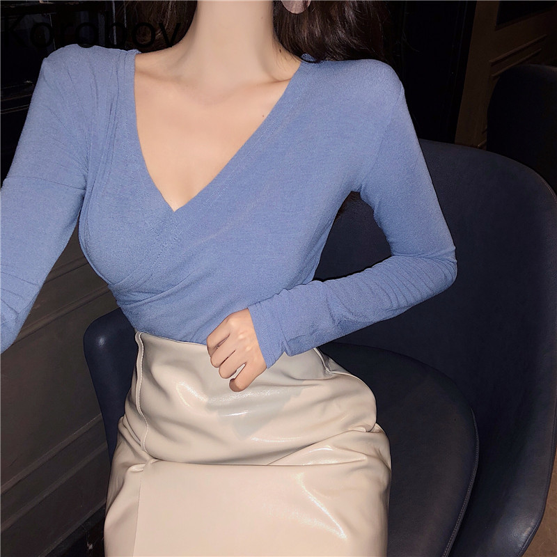 Korobov Sexy Deep V Neck Solid Women Sweaters Long Sleeve Vintage Elegant Knitted Pullovers Autumn New Slim Jumper Femme 78057