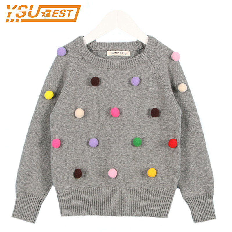 2018 Fashion Boys Jumpers Lovely Baby Girls Boy Sweater Infant 100% Cotton Long Sleeve Coat Ball Design Kids Pullover Sweater ...
