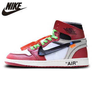 2b689f2d660f Nike AJ1 Retro High Red White Basketball Shoes For Men Air Jordan 1 Off  White X