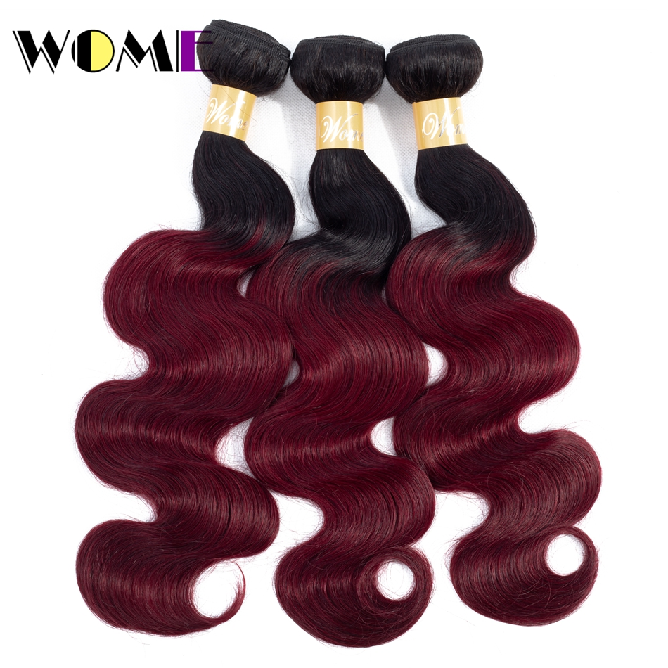 Wome Pre-colored Malaysian Body Wave Ombre Human Hair Weave 1/3 Bundles Deals 1b 99j Bundles Burgundy Red Ombre Hair Extension(China)