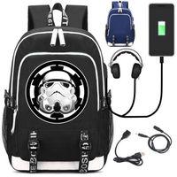 USB Interface de Carga da Série Star Wars Mochila Escolar Mochila Laptop bolsa de Viagem Bolsa de Ombro Unisex Fãs Trabalhar Sacos de 17