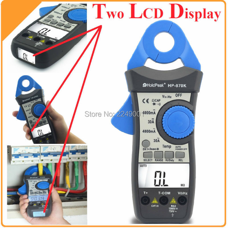 HoldPeak HP-870K Auto Range Digital Clamp Meter Small Current Range Multimeter Amperimetro Temperature/Frequency Backlight mini multimeter holdpeak hp 36c ad dc manual range digital multimeter meter portable digital multimeter