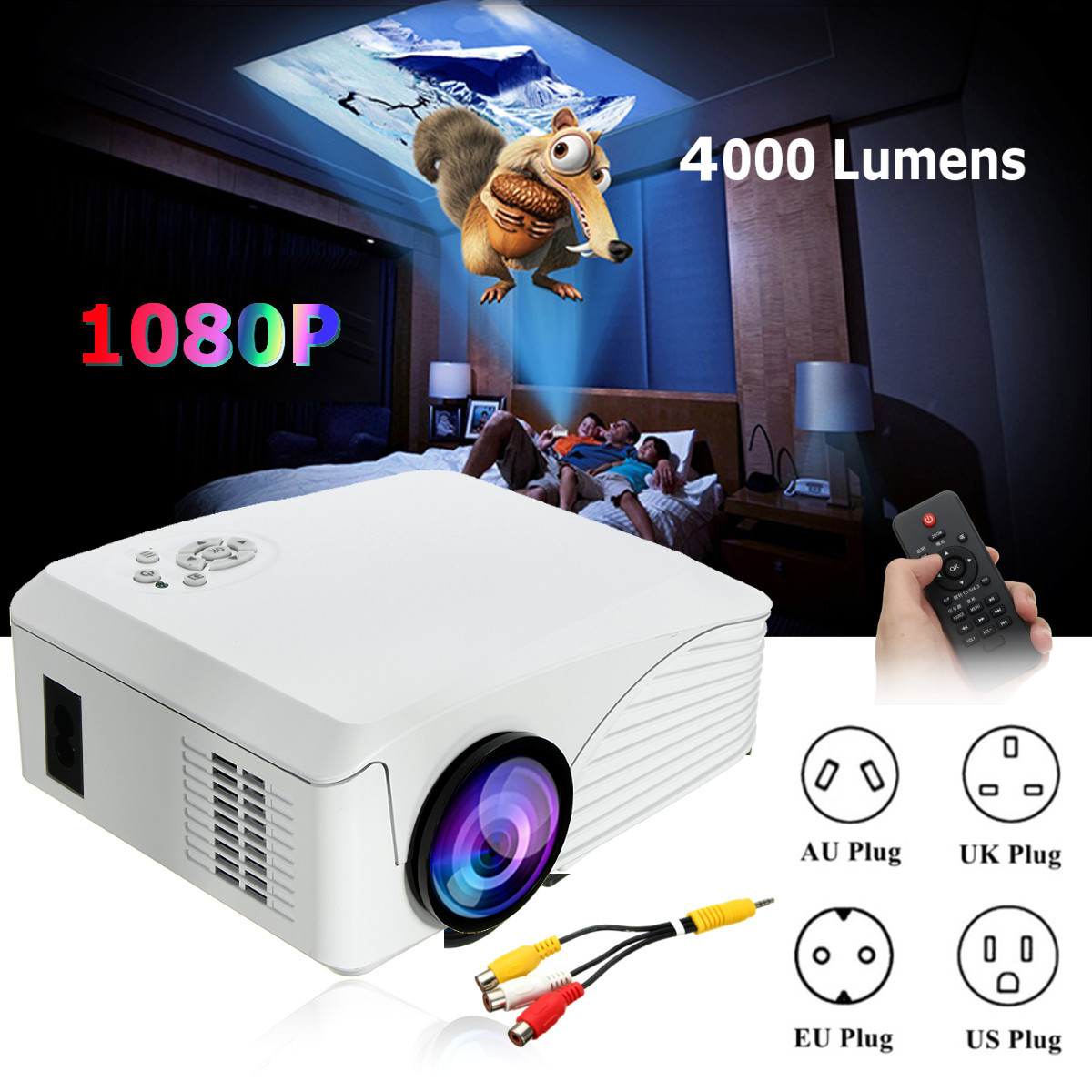 4000 Lumens Portable mini LED Projector Home Theatre System HD Projector with AV Cable