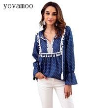 цена на Yovamoo Denim Shirt Women 2018 Autumn Vintage Long Sleeve Blouse Women Lace Patchwork V-neck Drawstring Blue Tassel Shirts