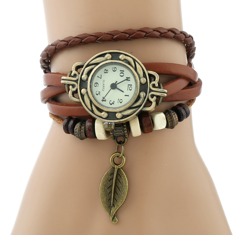 Classic Genuine Leather Bracelet Women Vintage Wrist Watch 1
