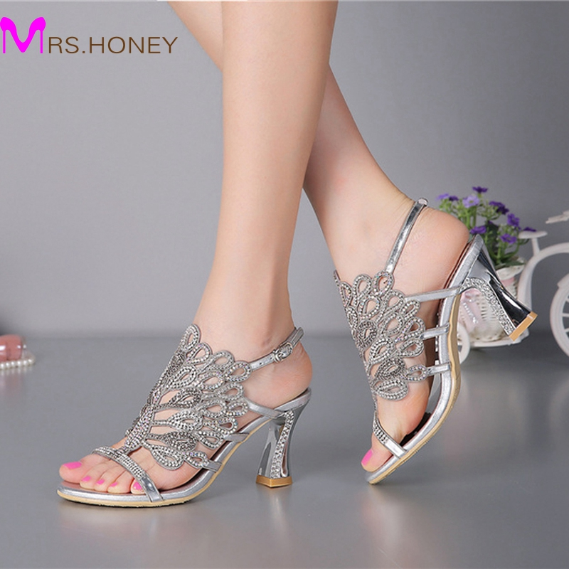 Summer New Sandals Chunky Heel Floral Silver Wedding Dress Shoes ...