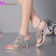 Summer New Sandals Chunky Heel Floral Silver Wedding Dress Shoes Rhinestone Luxurious Genuine Leather Prom Party High Heels