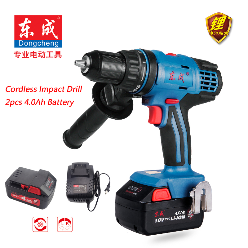 18V Rechargeable Impact Drill 13mm Cordless Impact Electric Drill 4.0Ah Rechargeable Lithium Battery Electric Drill 2 Speed impact drill drill electricelectric impact drill - title=