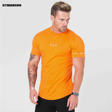 Mens gyms Fitness T-shirt high quality On the back Splice Bodybuilding Slim Shirts O-neck Short sleeves Breathable mens Tee Tops