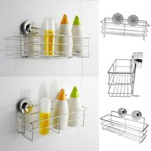 цена на Wall Mounted Stainless Steel Storage Rack Kitchen Bathroom Organizer Shelf Suction Bathroom Storage Holder Rack Basket