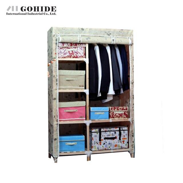 Gohide Solid Wood Simple Cloth Wardrobe Folding Furniture Wardrobes With Simple Lockers For Bedroom Storage Coat Hangers Lockers