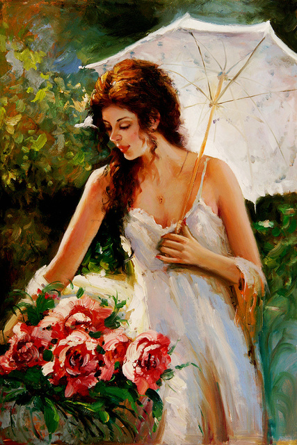 Beautiful Lady with an Umbrella on Summer Oil Painting Art