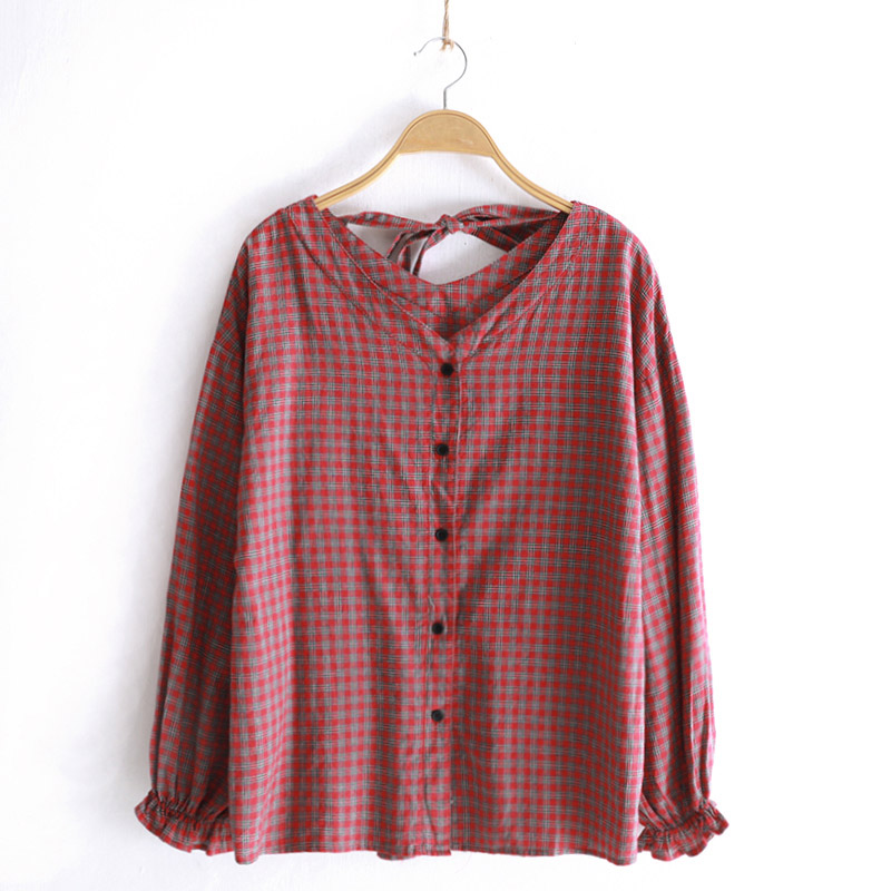 Automne femmes à manches longues Blouses Plaid coton chemise japon Style haute qualité mode vêtements hauts 2018 V cou rouge automne vêtements