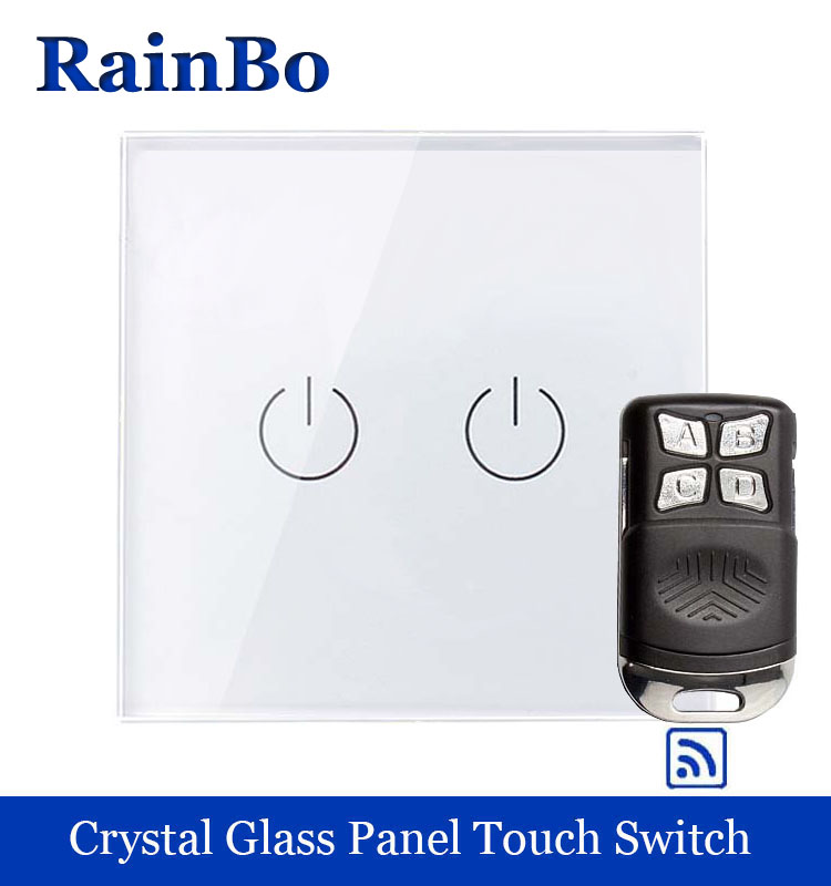 rainbo Crystal Glass Panel Switch EU Remote control Wall Switch AC250V Touch Switch Light Switch 2gang1way LED lamp A1923W/BR01 wall light touch switch 2 gang 2 way wireless remote control touch switch power for light crystal glass panel wall switch