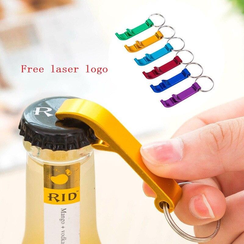 300pcs Free Laser Engraving Bottle Opener Keychain Rings Custom Logo Metal Key Chain Bottle / Can Openers Promotional Gift Item