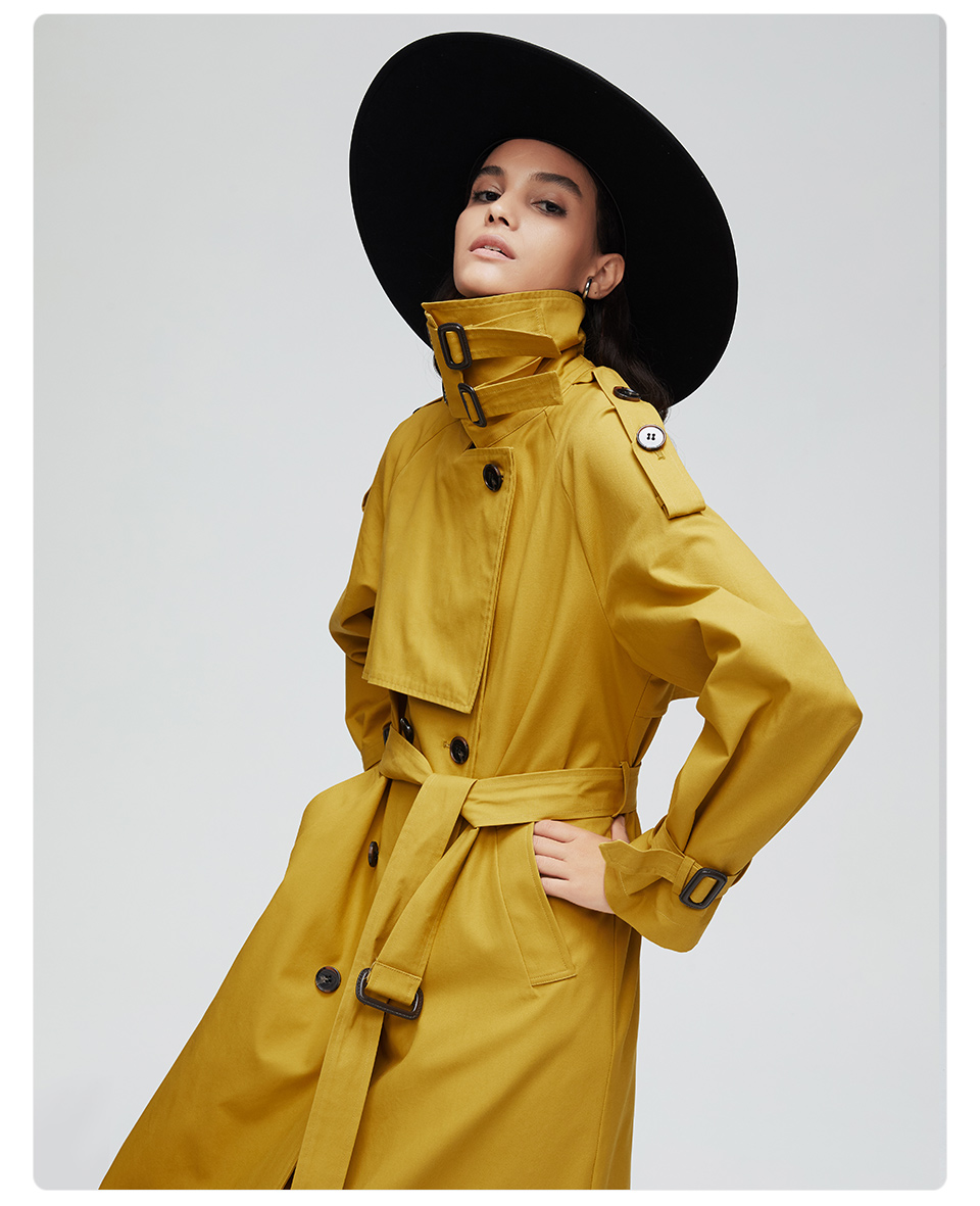 JAZZEVAR 19 New arrival autumn top trench coat women double breasted long outerwear for lady high quality overcoat women 9003 15