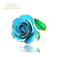 2017 Hot Sale Valentine's Day Gifts 25cm Length 24k Real Gold Rose, Blue Color Rose Flower For Home Decoration