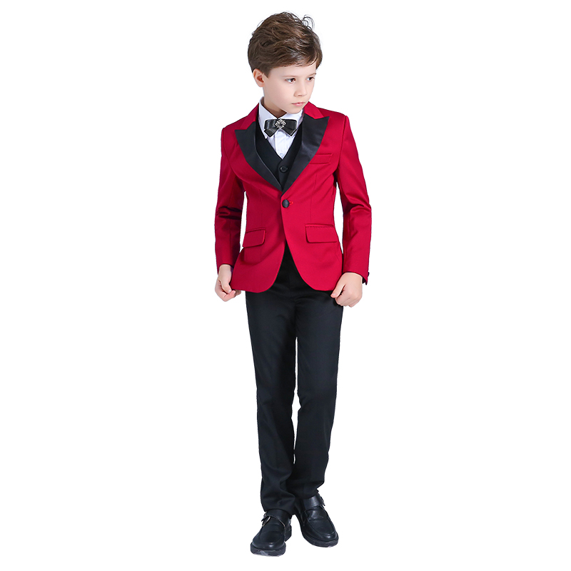 Childrens small suit set birthday party dress red boy casual piano costume flower girl dress Korean version of the suitChildrens small suit set birthday party dress red boy casual piano costume flower girl dress Korean version of the suit