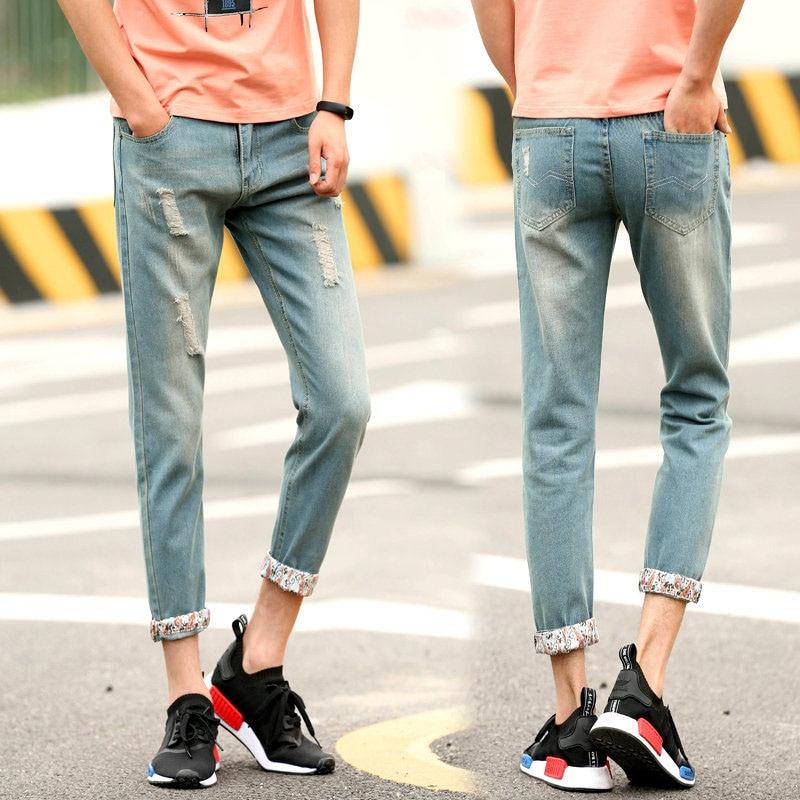 2019 CHOLYL New Fashion Men nine Holes   Jeans   European High Street Motorcycle Biker   Jeans   Men Hip Hop Ripped Slim   Jeans   pants