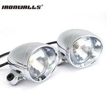 Universal 2 chrome motorrad vorderscheinwerferlampe abs chopper touring motorrad kugel nebelscheinwerfer für harley honda yamaha suzuki