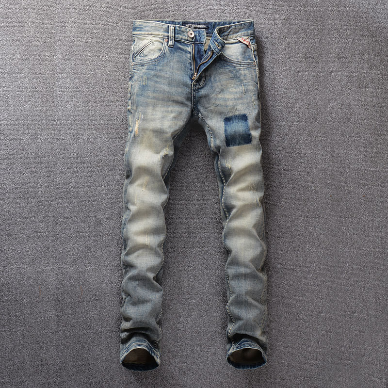 Italian Vintage Style Fashion Men Jeans Retro Washed Slim Fit Classical Jeans Men Denim Pants Hombre Streetwear Hip Hop Jeans