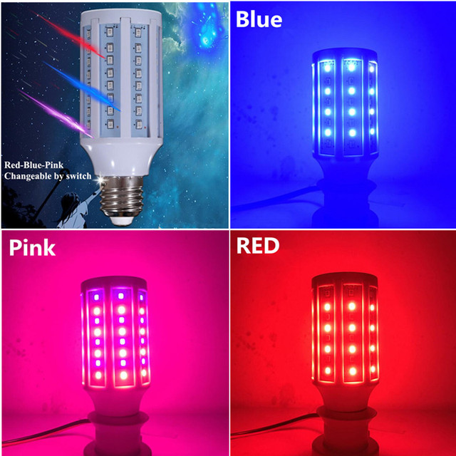 Red/Green/Pink changeable colorful LED corn bulb e27 b22 corn led lamp AC110V 220V 230V 240V E14 B22 E27 10W LED corn bulb
