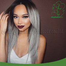 7A #1B/#grey ombre human hair wig 130 density Brazilian virgin full lace wigs/human hair lace front wigs for black/white women
