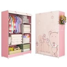 цена Wardrobe 3D painting design Non-woven Steel frame reinforcement Standing Storage Organizer Detachable Clothing Closet furniture онлайн в 2017 году