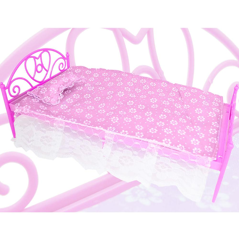 Mini Cute Pink Doll's Plastic Bed + Pillow + Bedsheet Dollhouse Furniture Accessories For Barbie Doll Play House Girl