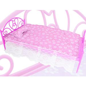 Mini Cute Pink Doll's Plastic Bed + Pillow + Bedsheet Dollhouse Furniture Accessories for Barbie Doll Play House Girl(China)