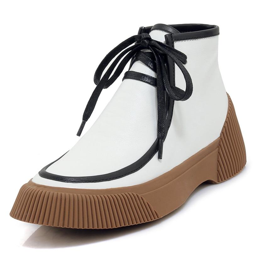 di 3 da Scarpe Scarpe donna Fedonas corto Qualità Boot bianco Camoscio 1 da 2 da donna pelle di di Stivali Casual mucca da suola moto donna marca 4qqpt