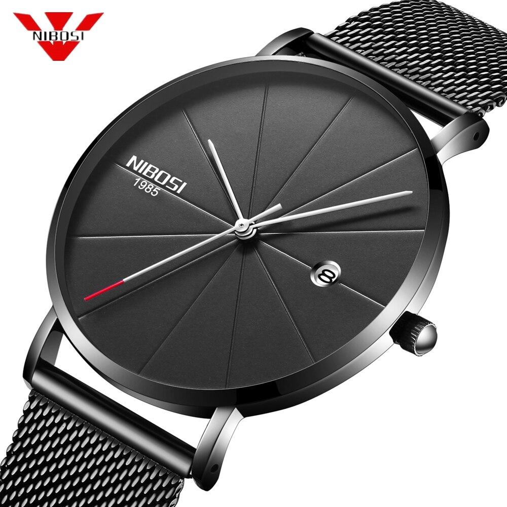 NIBOSI Luxus Marke Männer Uhr Ultra Dünne Stahl Strap Uhr Männliche Datum Quarz Sport Uhr Männer Casual Armbanduhr Relogio Masculino