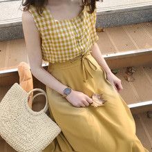 Summer 2 piece sets women Clothing 2019 summer two set yellow top plaid sleeveless Veat and long Bandage skirts