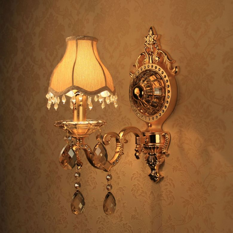 Balcony aisle light Vintage candle wall lamps zinc alloy jade crystal light fixture use E14 LED for foyer kitchen bedroom lamp