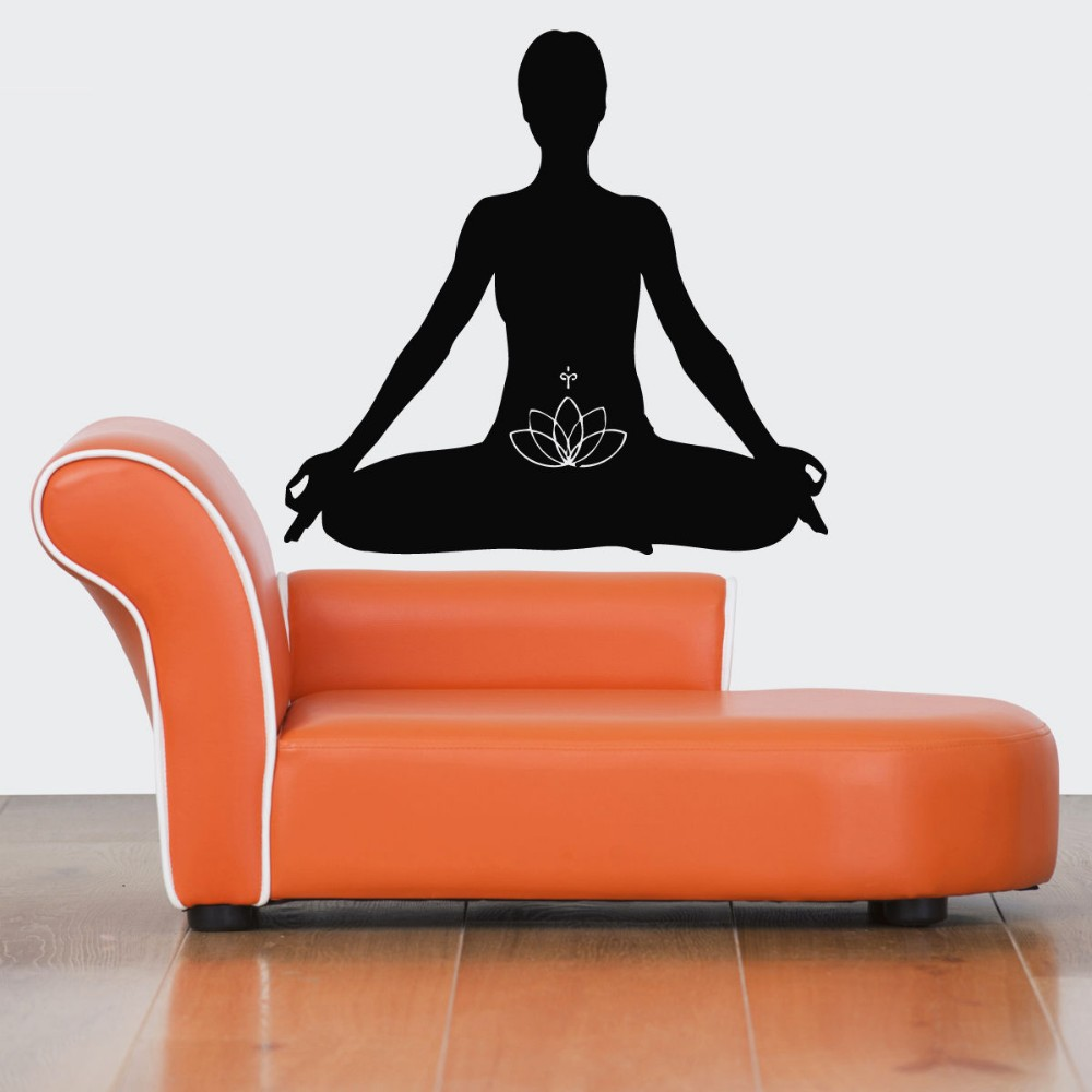 Hot Sale Home Wall Decoa Wall Decal Yoga Meditation Wall Sticker Removable Wall Mural Vinyl Art Room Decoration Wallpaper Y 366 in Wall Stickers from Home Garden