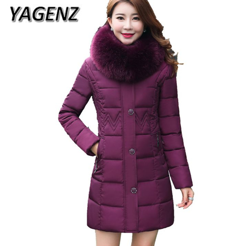 2018 Middle-aged Winter Warm Hooded Coats Women Thick Down Jackets Big Fur collar Slim Medium Long Outerwear Boutiques Clothing духовой шкаф electrolux ezb 55420 aw