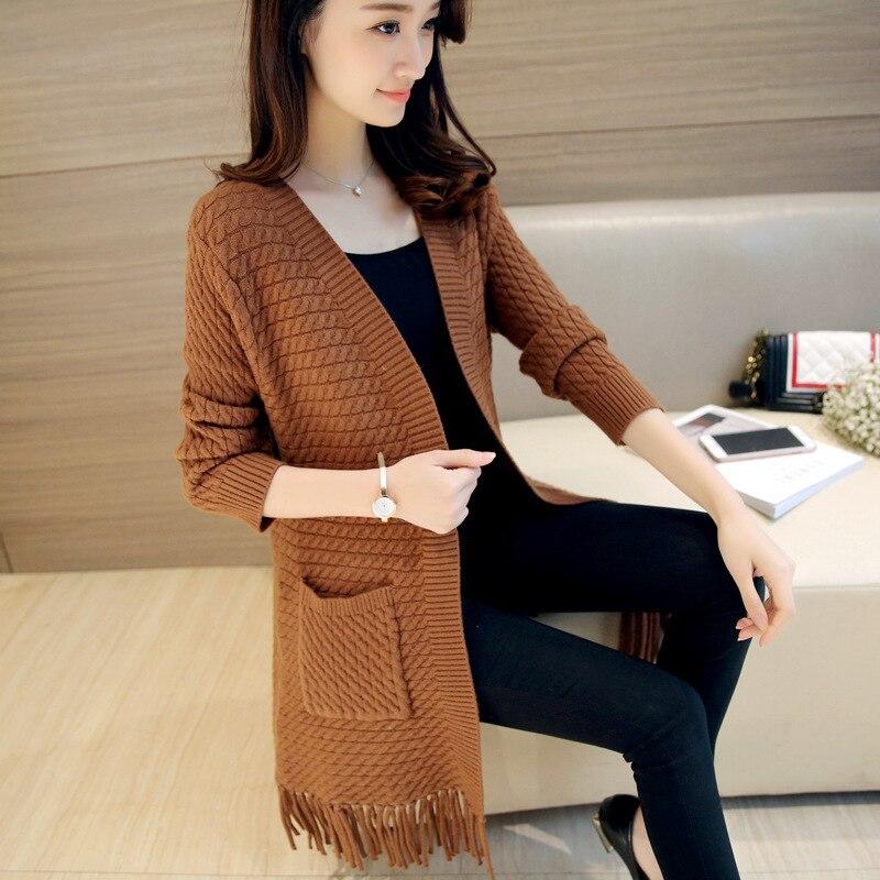 Autumn Women Sweater Cardigan 2018 New Fashion Fringe Knit Coat Korean Style Solid Color Long Sleeve Cardigan Women clothing 217