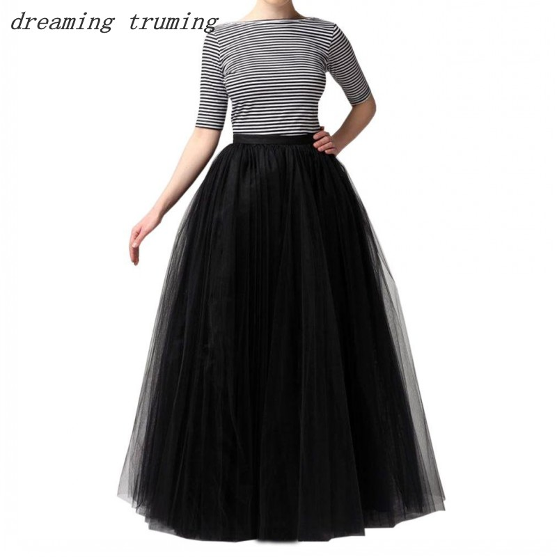 e54e7256fe Multi Color Tutu Petticoat Woman A Line Long Tulle 5 Layer Crinoline  Underskirt Rockabilly Tutu Skirt