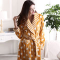 Free Shipping New arrive Full Sleeve Flannel Generous Yellow Multi Color Warmth Sleep Robes