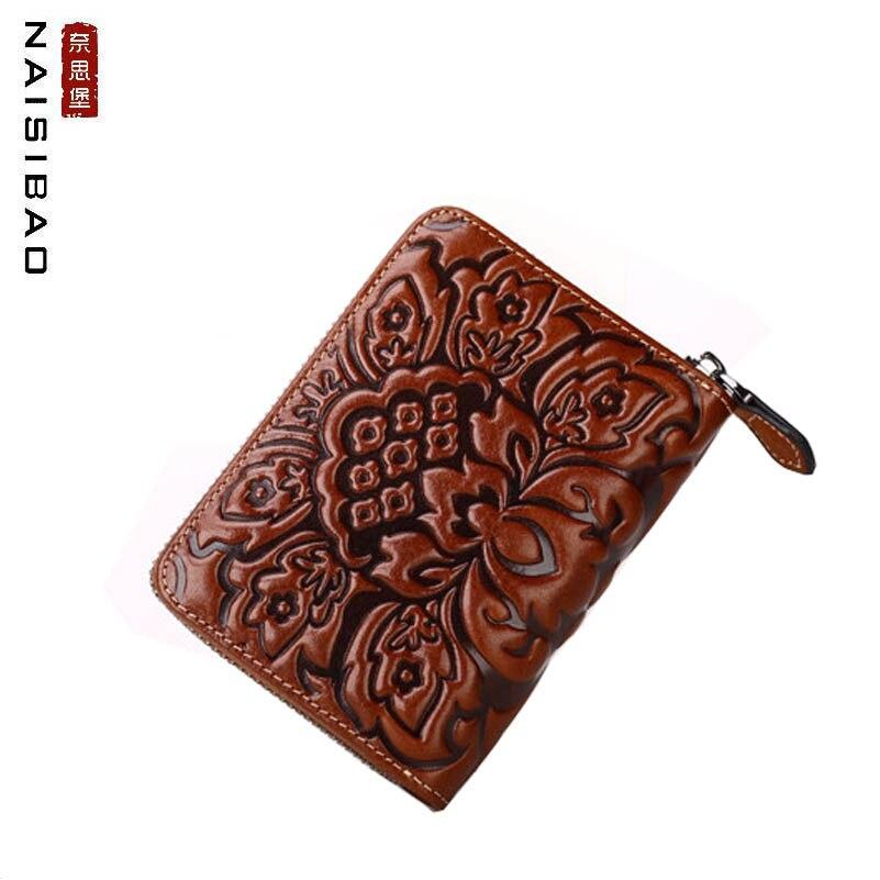 NAiSIBAO 2019 nouvelles femmes en cuir véritable sac mode rétro en cuir en relief fermeture à glissière mini portefeuille sac à main carte sac