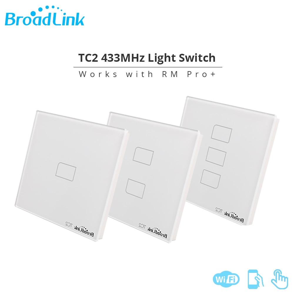 Broadlink թեթև անջատիչ TC2 1Gang ԱՄՆ ԵՄ UK AU Wall Switch Smart Remote 3G 4G Wifi Switch Touch Panel Համատեղելի Pro + Android IOS