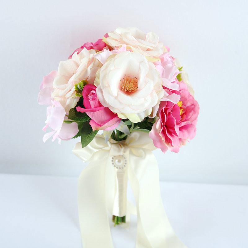Simple Flower Bouquets For Weddings: Simple Artificial Rose Brides Bouquets For Weddings Bridal