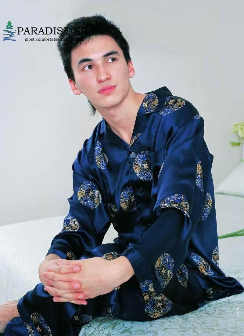 100% Pure Silk Men Lounging Wear Pajamas Set  Floral  Size L XL XXL