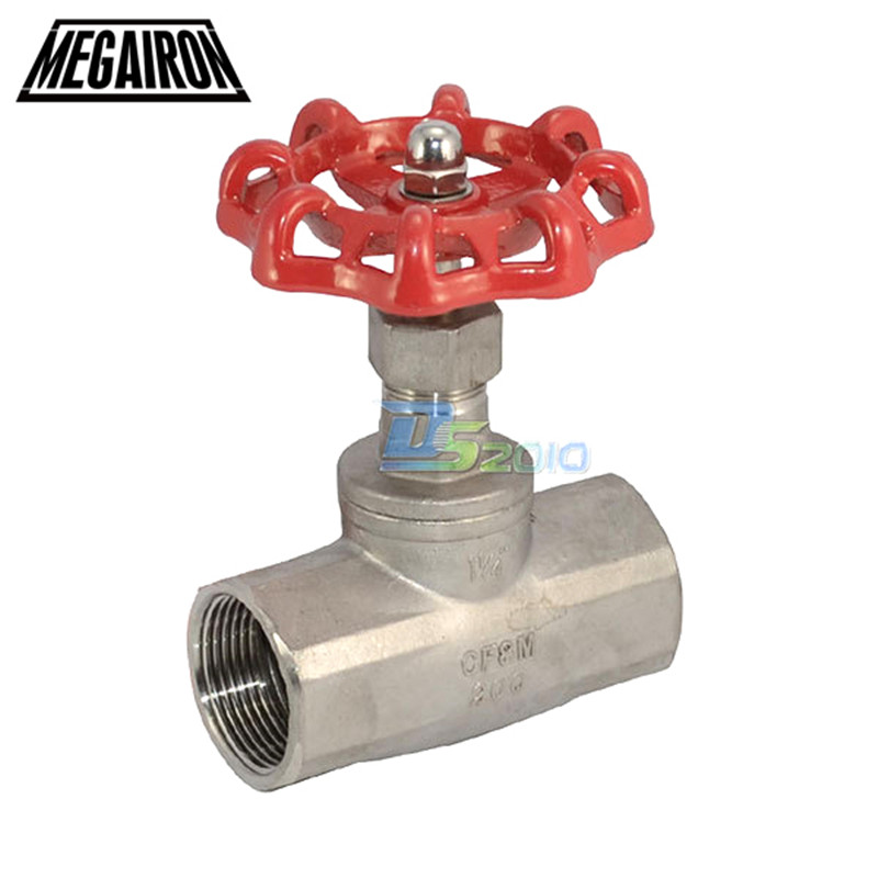 MEGAIRON BSPT Female DN32 1-1/4 Globe Valve Stainless Steel SS316 CF8M Heavy Duty Max 200Psi 350 Degrees 1 2 globe valve stainless steel ss 316 cf8m heavy duty new page 3 page 1