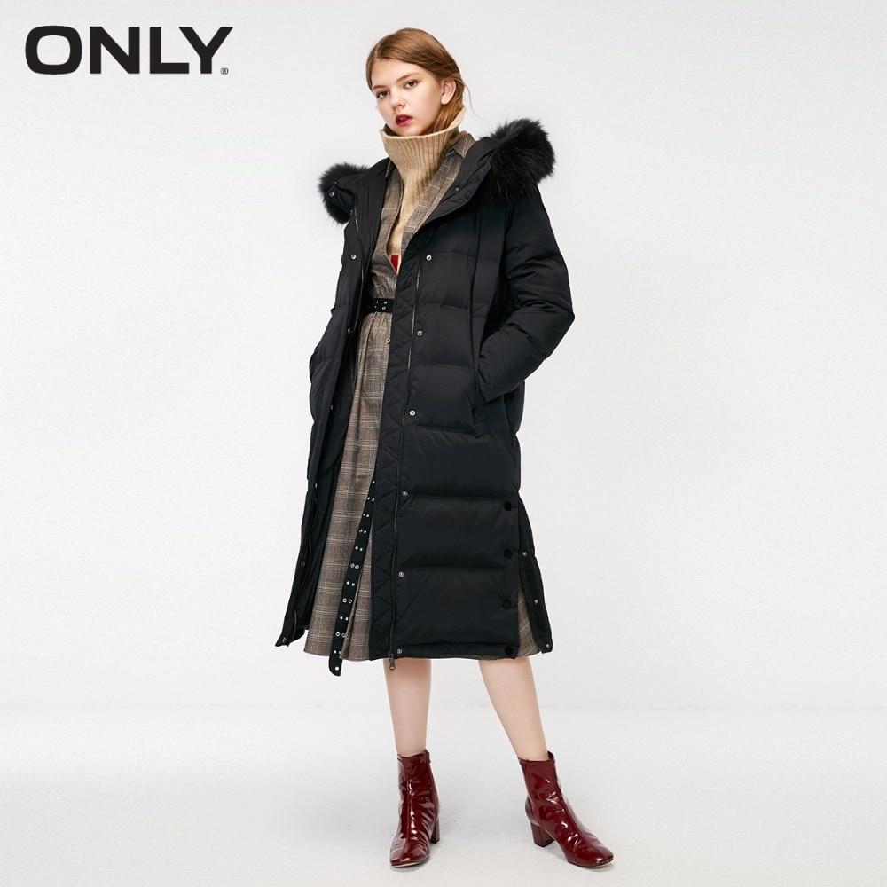 Kadın Giyim'ten Şişme Montlar'de Sadece bayan kış yeni düz renk kürk yaka uzun aşağı ceket yan düğme yarık ayrılabilir kürk yaka  118312550'da  Grup 1