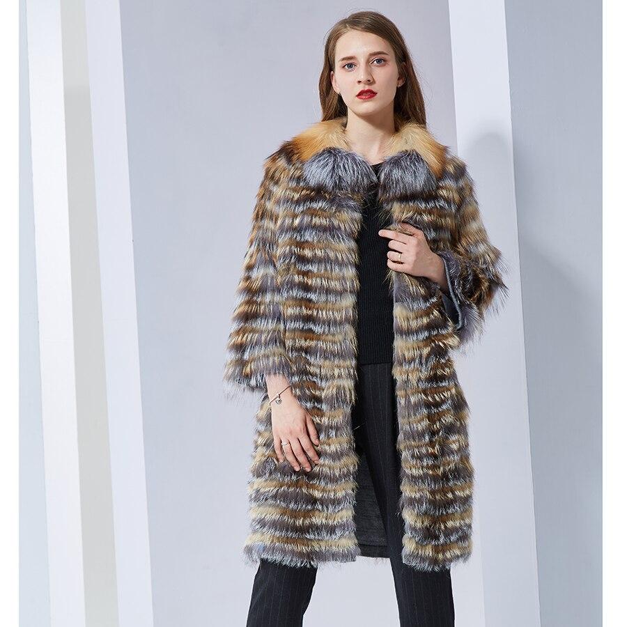 CNEGOVIK de Femmes chaude argent fourrure de renard manteau Femelle couleur naturelle Réel Fourrure De Renard naturel longue fourrure manteaux rouge renard fourrure vestes